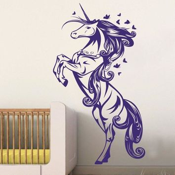 Unicorn Horse Nursery Girls Bedroom Wall Decal Sticker Art Vinyl Wall Stickers For Kids Room Living Room Vinilos Paredes D708