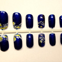 Starry Night Inspired Hand Painted Press On False Nails Fake Nails