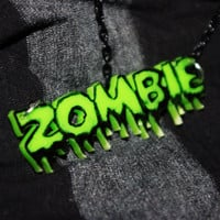OOAK Altered Zombie Necklace on Black Chain by TheBeesKneesCrafts