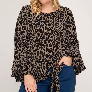 3/4 Bell Sleeve Leopard Print top with Front Tie - Taupe