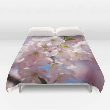 Pink blossom branch Duvet Cover by PLdesign