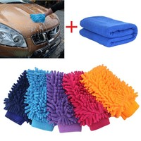 New Reusable Car Wash Glove Soft Towel Microfiber Cars Cleaning Care Detailing + Towel For Automotives Household