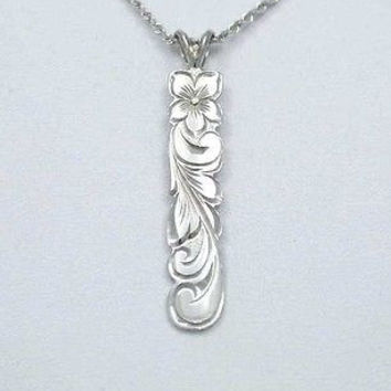 14K SOLID WHITE GOLD HAWAIIAN 8MM PLUMERIA FLOWER SCROLL VERTICAL PENDANT CUTOUT