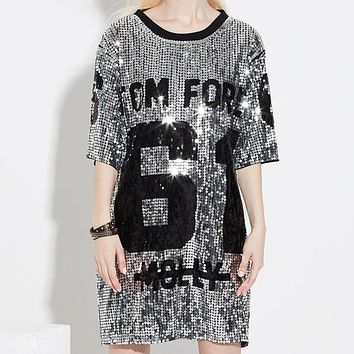 Chic Sequins T-Shirts Sequined Hip Hop Bling Tees Woman Oversized Half Sleeve O-Neck Shirt Stage Dance Show Club Party Tops
