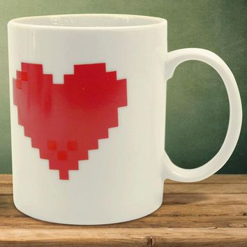 1Piece Pixel Heart Mug Color change Ceramic Morph Mug Great Gift For Valentine