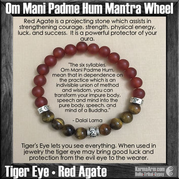 Om Mani Padme Hum Mantra Wheel: Red Agate | Tiger Eye Yoga Mala Bead Bracelet