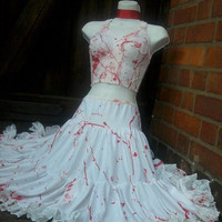 blood splattered ZOMBIE bride wedding petticoat crinoline red n white full swing net underskirt corpse 50s skirt LAST one
