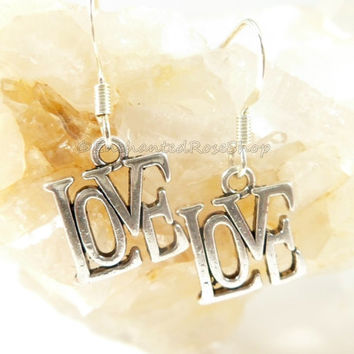 Silver Love Earrings, Love Charm Earrings, Love Word Earrings, Valentines Gift, Mothers Day Gift, Gifts for Girlfriend, Birthday Gift