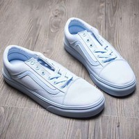 Vans Fashion Casual Classic Slip-on Print Canvas Leisure Shoes Light blue G-A-YYMY-XY
