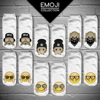 Women's Funny Emoji Monkey 3D Print Sock Men Unisex Low Cut Ankle Socks Cotton Hosiery White Printed Casual Sock