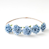 blue flower crown / rose floral crown, flower headband, wedding bridal, lana del rey, floral circlet, hair wreath.