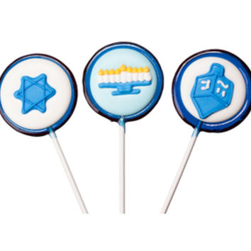 Gourmet Hanukkah Candy Lollipops: 12-Piece Pack