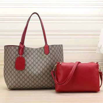 Gucci Women Leather Multicolor Tote Handbag Shoulder Bag Set Two Piece