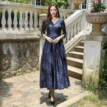 Plus Size Heavy Silk Jacquard Pearl Clasp Party Dress Vintage V Neck High Waist Slim Women Tunic Long Dressalx11501