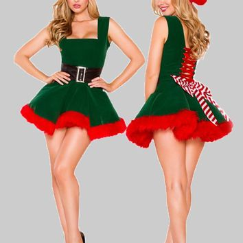 Green Striped Pleated Hat Bow Drawstring Lace-up Fuzzy Tutu Christmas Party Mini Dress