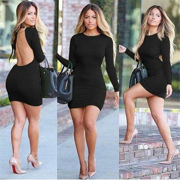 Women Sexy Bodycon Leopard Dress Spring Summer O-neck Long Sleeve Backless Knee-length Ladies One-piece 2015 New Fashion = 5738815425