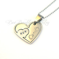 Hand Stamped Heart Puzzle Necklace - Heart jewelry - Personalized Jewelry