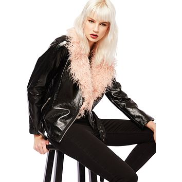 Vinyl Faux Leather Biker Jacket with Pink Faux Fur Collar