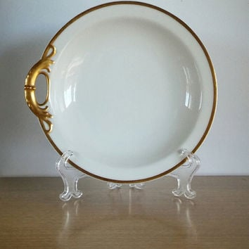 Haviland & Co Limoges Schleiger Soup Bowl White, Vintage Haviland Limoges Plate White and Gold