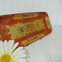 Antique Enameled Paper Mache Floral Vanity Tray - Vintage Heavily Waxed Colorful Shabby Chic / BoHo Bistro Display Platter - Made in Japan