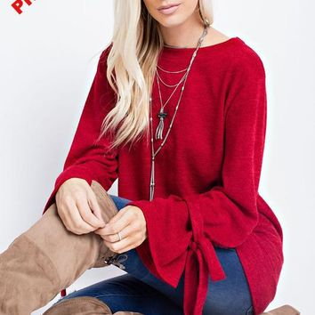 Ribbon Tie top - Red