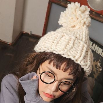 Fashion Thick woolen yarn Coarse knitted women hat with thick yarn ball lady beanies skullies caps for female Outdoor Winter Hat