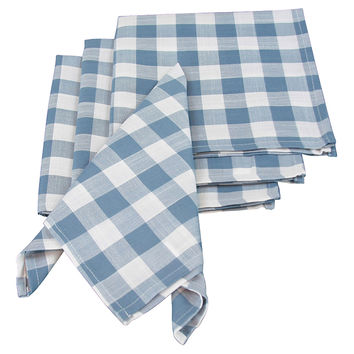 Gingham Check Napkins, Blue, Set of 12, Dinner Napkins