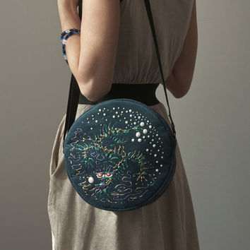 Round Purse Bag Turquoise Bag Asian Water Dragon Hand Painted Bag Teal Cross Body Bag Purse Velour Bag Acrylic Painting