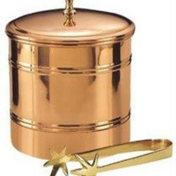 6 Dia. x 7 H. Dcor Copper Lined Ice Bucket w/Brass 7 Tongs 3 Qt