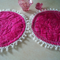 Two Round Quilted Mug Rugs/Candle Mat crochet with faux pearls - Magenta - Home Decor - Shabby Chic - Inventory Sale