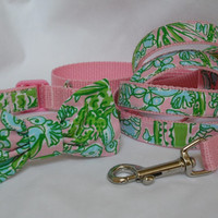 Dog Collar Bow and Leash 3piece Set Made from Lilly by Lillyduds