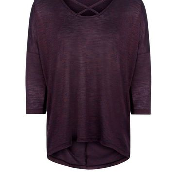Purple Fine Knit Cross Front Top