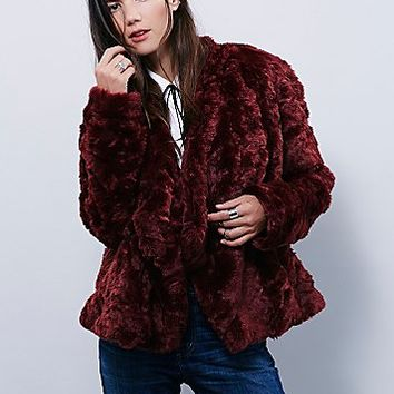 Free People Womens Swingy Faux Fur Coat