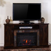 "Sunny Designs Santa Fe Fireplace Media Console(26""FB) In Dark Chocolate"