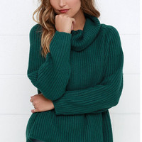 High Collar Piles Loose Knit Sweater in Green