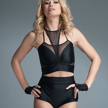 Club wear Mesh and Spandex Crop Top Lingerie