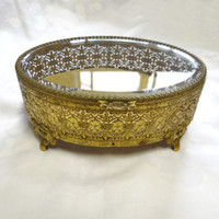 Ormolu Brass Jewelry Casket - Beveled Glass Lid - Filigree - Large - Jewelry Case or Box - Vintage