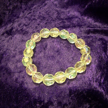 Vintage Strand of  Faceted Aurora Borealis Glass Bracelet.