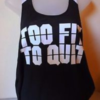 PINK Victoria's Secret Too Fit To Quit Racerback Tank Top Shirt Black Medium