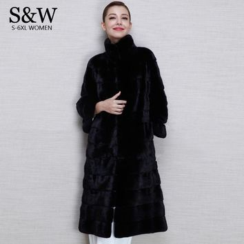 Fashion Luxurious Sexy Women's Long Design Stand Collar Overcoat Black X-Long Warm Faux Rabbit Fur Coat Winter Women Outerwear