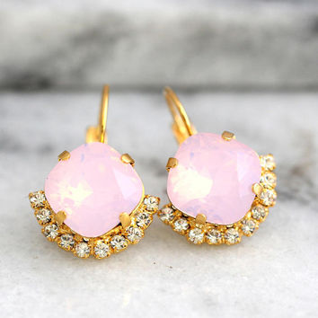 Opal Earrings, Pink Opal Earrings, Bridal Pink Earrings, Pink Powder Earrings, Bridal Pink Earrings, Gift for Her, bridesmaids Earrings