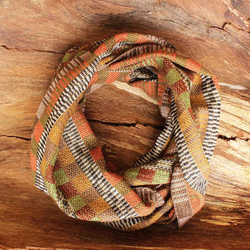 Handwoven Scarf in Warm Autumn Colors, Infinity Scarf, Fall Scarf, Fashion Scarves, Cotton Scarf, Unique Gift Ideas for Women Scarf 6090