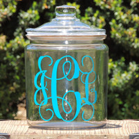 Monogrammed Glass Cookie Jar, candy dish, wedding candy jar. personalized cookie jar,