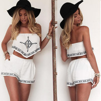 Strapless Embroidery Crop Tops and Shorts