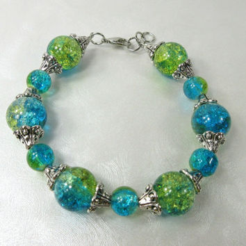 Crackle Glass Bracelet with Silver Accent Beads, Aqua and Yellow Crackle Glass Beads, Aqua Bracelet, Yellow Bracelet