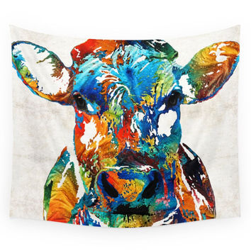 Society6 Colorful Cow Art Mootown By Sharon Cummi Wall Tapestry