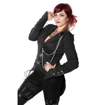 Women's tail jacket with laces and chains, by Raven SDL