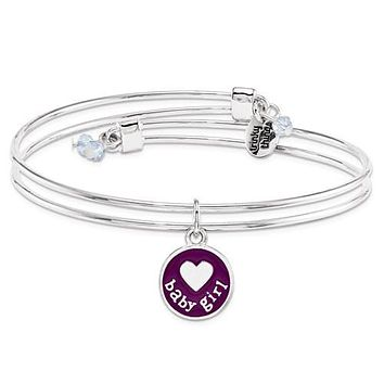 Silver-Tone Trinky Things Purple Girl Oh Baby Bracelet/Card