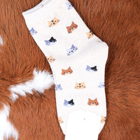 Kitty Cat Ankle Sock, Beige