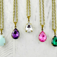 Rhinestone Teardrop Necklace